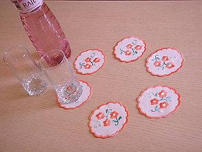 Úžitkový textil - Podložky pod poháre - vyšívané - 6835494_
