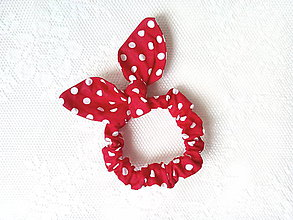 Ozdoby do vlasov - Mini scrunchie (red/white polka dots) - 6834887_