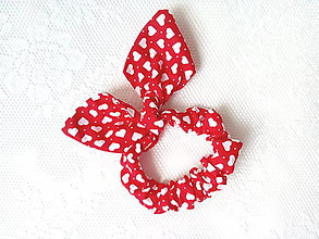Ozdoby do vlasov - Mini scrunchie (red/white hearts) - 6834892_