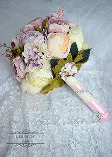 Kytice pre nevestu - set pivoniek - ružová vôňa - 6833942_