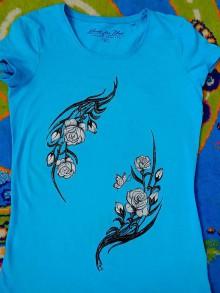 Tričká - maľované tričko ruže - 6835652_
