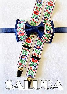 Doplnky - Folkový - folklórny set  motýlik + traky modrý - 6835482_