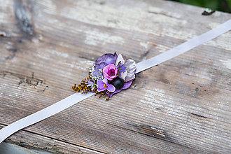 Náramky - Kvetinový náramok na stuhe