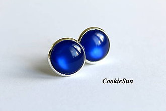 Náušnice - Glamour Parisian Blue (Napichovačky 12mm) - 6834722_