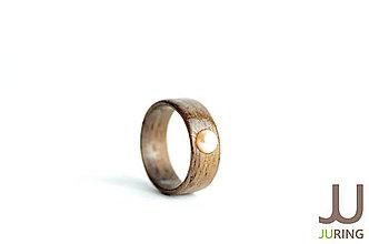 Prstene - Drevený prsteň Orech & ružová Perla - 6835635_