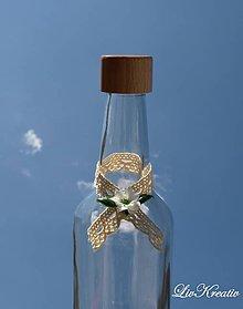 Darčeky pre svadobčanov - Stužka na fľašu - Čipka a kvet - 6836308_
