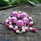 Náramky - ružové kudrlinky / dlhé - 6838351_