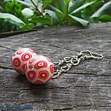 Náhrdelníky - bielo-červené loptičky na krk - 6838369_