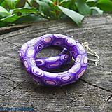 Náušnice - fialové prísavkovité plávacie kolesá na uši - 6838391_