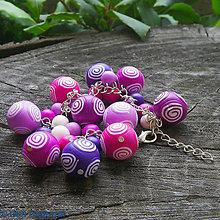 Náramky - ružové kudrlinky / tučné - 6838353_