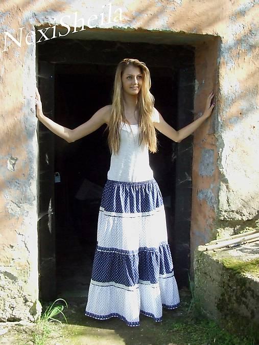 62df33e64318 Dlhá volánová sukňa modro biela   NexiSheila - SAShE.sk - Handmade Sukne