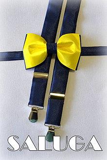 Doplnky - Set traky + motýlik tmavo modrý, žltý - 6838447_