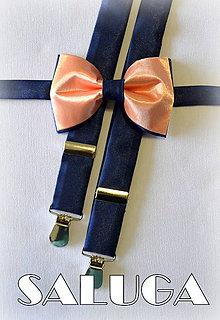 Doplnky - Set traky + motýlik tmavo modrý, broskyňový - 6838448_