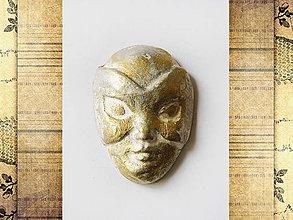 Komponenty - Kabošon z keramickej hliny - Maska zlatá/strieborná, 23x26mm, bal.1ks - 6836415_
