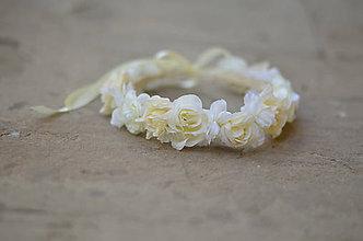 Ozdoby do vlasov - Svadobný venček z bielych ruží - 6840289_