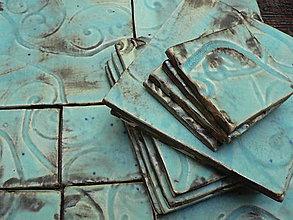 Dekorácie - Kachličky Provence s tyrkysem, 10x10 cm - 6841589_