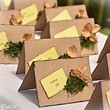 Svadba v lese - menovky pre svadobčanov