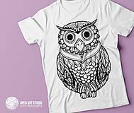 Tričká - Vymaľuj ma! Kreatívne tričko SOVA - 6843019_