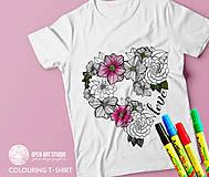 Tričká - Vymaľuj ma! Kreatívne tričko FLOWER POWER - 6843049_