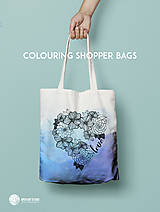 Nákupné tašky - Vymaľuj ma! Kreatívna plátenná taška FLOWER POWER - 6843140_