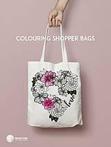 Nákupné tašky - Vymaľuj ma! Kreatívna plátenná taška FLOWER POWER - 6843142_