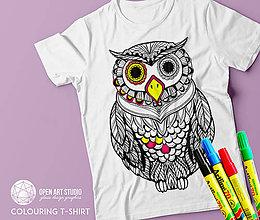 Tričká - Vymaľuj ma! Kreatívne tričko SOVA - 6843018_