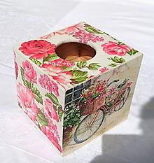 """Krabičky - Box na vreckovky """"Kvety a bicykel"""" - 6843669_"""