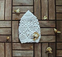 Čiapky - Háčkovaná bareta prírodná biela - 6843706_