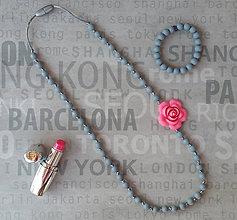 "Náhrdelníky - Dojčiaci silikónový náhrdelník ""Ruža v šedi"" - 6846555_"