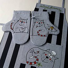 Úžitkový textil - MLSNÝ KOCOUR - zástěra a chňapky - 6846223_