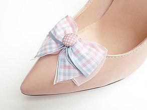 Obuv - Klipy na topánky - kárované ružovo-modré mašličky - 6845805_