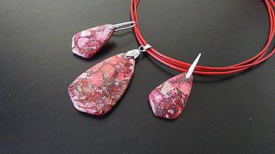 Sady šperkov - červený náhrdelník a náušnice z morských usadenín - 6845022_