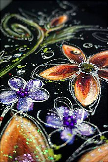Šaty - rozkvitnuté  - maľba na čiernych šatách - 6849331_