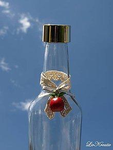 Darčeky pre svadobčanov - Stužka na fľašu - Červené jabĺčko - 6848675_