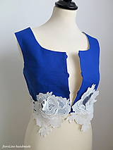 Topy - moderná folk vestička s 3D ružami - 6847544_