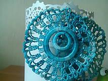 Náušnice - kruhy v tyrkysovom melíre - 6851485_