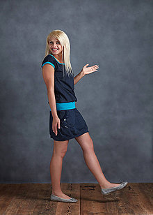 Šaty - Dress Blue Dots and Turquoise - 6852270_