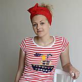 Tričká - Dámske tričko (Loďka na červenom) - 6849948_