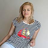 Tričká - Dámske tričko (Loďka zlato-červená) - 6849974_