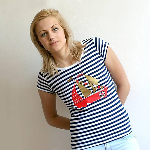 Dámske tričko (Loďka zlato-červená)