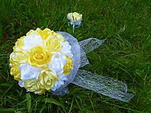 Kytice pre nevestu - Látková kytica s pierkom pre ženícha - 6851062_