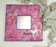 """Zrkadlá - Romantické zrkadlo s damaškovým ornamentom """"beauty"""" (ružovo-fialové) - 6849747_"""