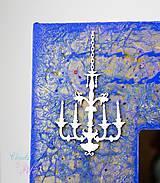 Zrkadlá - Vintage zrkadlo modro-zlaté s drôtenou figurínou a luxusným lustrom - 6850743_