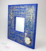 Zrkadlá - Vintage zrkadlo modro-zlaté s drôtenou figurínou a luxusným lustrom - 6850744_