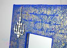 Zrkadlá - Vintage zrkadlo modro-zlaté s drôtenou figurínou a luxusným lustrom - 6850746_