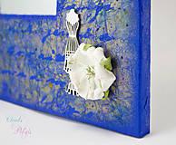 Zrkadlá - Vintage zrkadlo modro-zlaté s drôtenou figurínou a luxusným lustrom - 6850748_