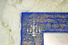 Zrkadlá - Vintage zrkadlo modro-zlaté s drôtenou figurínou a luxusným lustrom - 6850750_
