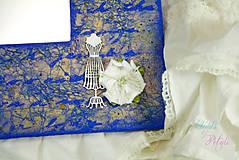 Zrkadlá - Vintage zrkadlo modro-zlaté s drôtenou figurínou a luxusným lustrom - 6850751_
