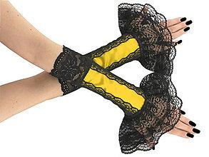 Rukavice - Elegantné žlté spoločenské bezprstové rukavice 1F1 - 6856663_
