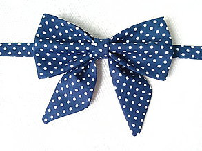 Náhrdelníky - Navy bow tie with small white polka dots (woman bow tie) - 6854006_